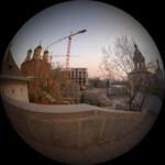 Вид на демонтаж гостиницы Россия с ул.Варварка